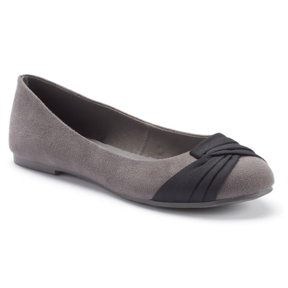 SO Shoes - SO Pleated Ballet Flats Gray/Black
